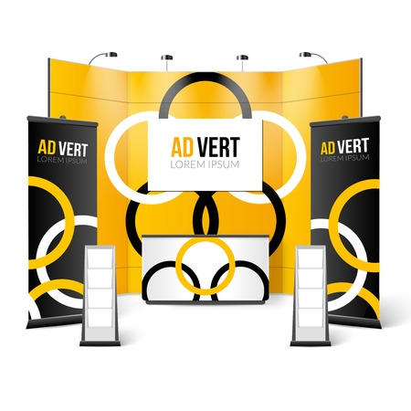 handouts: Exhibition Stand Black Yellow Design. Exhibition Stand Color Template. Exhibition Stand Realistic Vector Illustration. Exhibition Stand Elements.