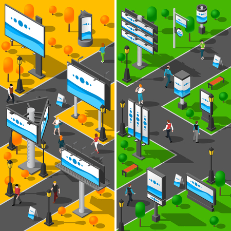billboards: Street Advertising Icons Set. Signboard Isometric Vector Illustration. Advertising Billboards Vertical Banners. Street Billboards Design Set. City Signboards Collection. Illustration