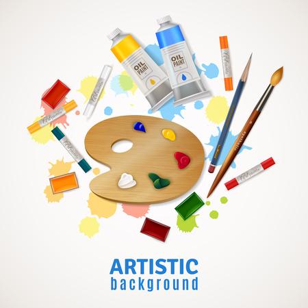 オイル塗料ペイント ブラシのパレット チューブと芸術的なデザイン コンセプト鉛筆ホワイト バック グラウンド平面ベクトル図で蛍光ペン  イラスト・ベクター素材