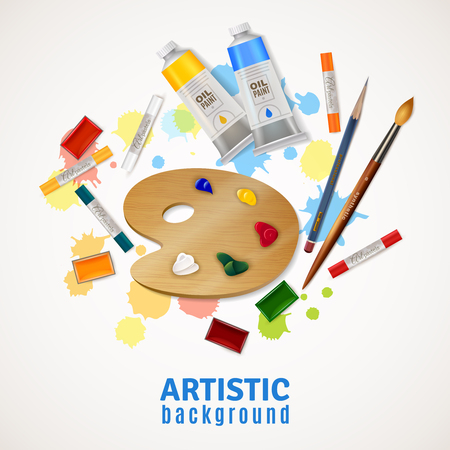 metier: Artistic design concept with palette tubes of oil paints paintbrushes pencil highlighters at white background flat vector illustration