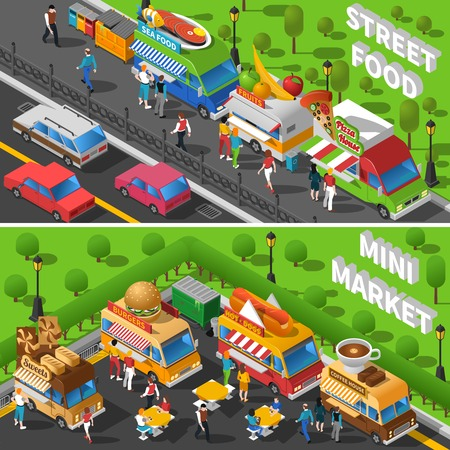 street symbols: Street Food Isometric Concept. Food Car Horizontal Banners Set. Street Food Cart Vector Illustration. Street Food Truck Symbols. Street Food Truck Design Set.  Street Food Van Elements Collection. Illustration