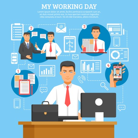 job promotion: Man daily routine poster with descriptions what businessman doing every day from morning till evening vector illustration