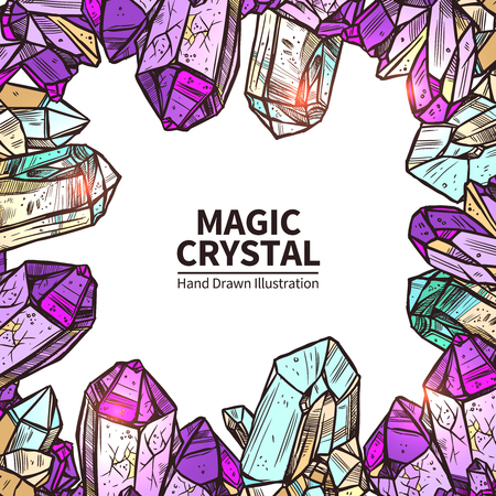 original sparkle: Crystals Sketch Concept. Crystals Decorative Objects. Crystals Vector Illustration. Crystals Hand Drawn Set. Crystals Design Symbols.