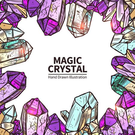 Crystals Sketch Concept. Crystals Decorative Objects. Crystals Vector Illustration. Crystals Hand Drawn Set. Crystals Design Symbols.