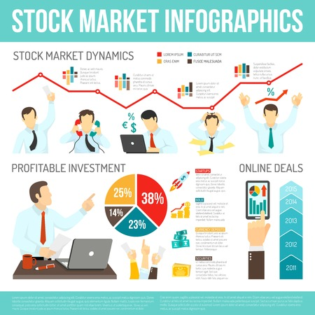 Stock market infographics with working traders money computer smartphone diagrams graphs statistics dynamics vector illustration