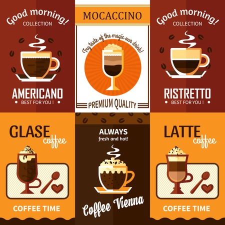 coffeehouse: Set of six coffee posters with advertising of cup of hot fresh coffee premium quality for coffeehouse menu vector illustration