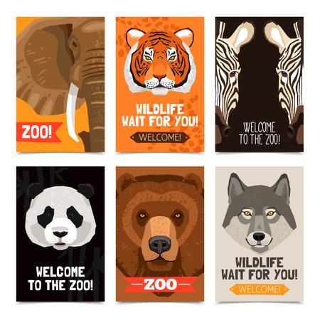 carteles Mini establecidos con diferentes animales salvajes cabezas en cada ilustración vectorial plana de carteles y la publicidad zoológico