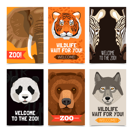 illustration zoo: Mini posters set with different wild animals heads on each poster and zoo advertising flat vector illustration