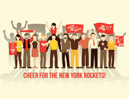 crowd cheering: Cheering crowd people retro style composition with men women scarf flags placards on clear backdround vector illustration