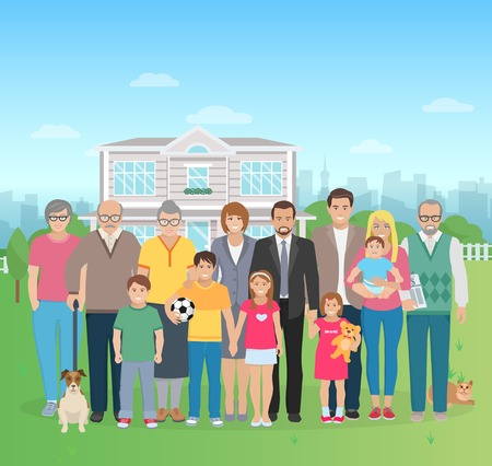big family: Color flat illustration big family together in the yard with cat and dog vector illustration