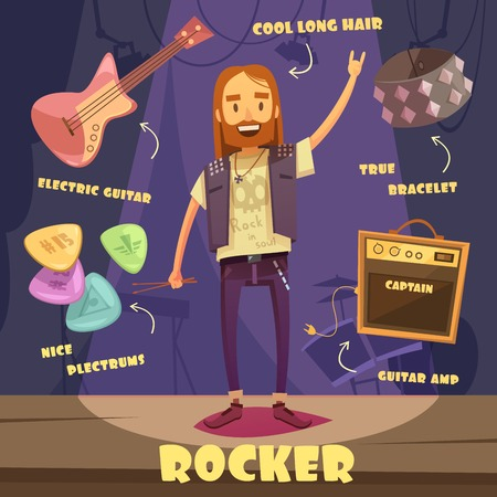 long haired: Rocker character pack with trendy elements for long haired man on stage flat vector illustration