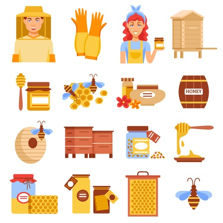 beekeeping: Honey beekeeping icon set with elements of beekeeping means for raising bees and honey vector illustration