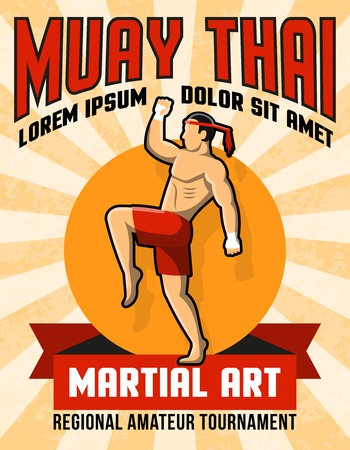 martial art: Muay thai martial art poster with fighter in center in yellow and red colors vector illustration Illustration