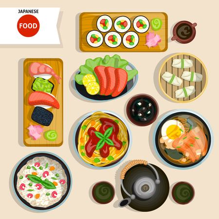 raw egg: Japanese Food Top View Set. Japanese Food Vector Illustration. Japanese Food Cartoon Symbols. Japanese Food Design Set.  Japanese Food Isolated Set.