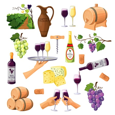 red grape: Color wine icons set on white background with glasses and bottles of red and white wine varieties jug and barrels flat vector illustration