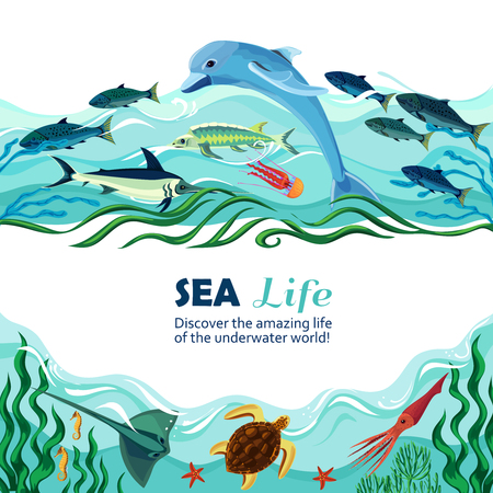inhabitants: Cartoon vector illustration of sea life with exotic underwater inhabitants and shoal of fishes in marine waves