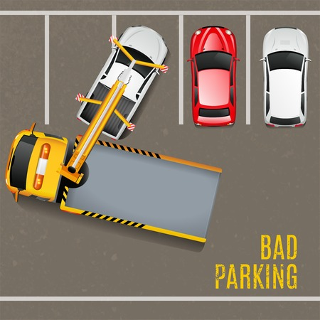 Slechte parking bovenaanzicht achtergrond. Sleep truck vector illustratie. Slecht Parking Cartoon Design. Sleepwagen Werkende Decoratieve Symbolen.