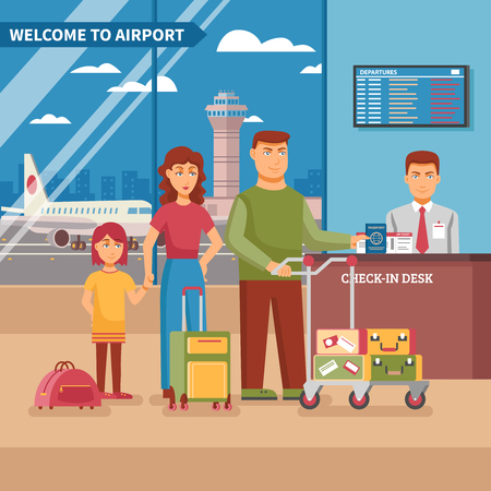 check in: Airport work poster family at check in desk with his luggage before boarding a plane vector illustration