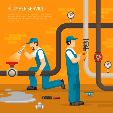 Inspection of pipeline composition with plumbing work leak on floor on brick wall background vector illustration