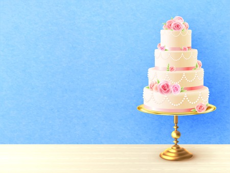 tiers: Wedding cake with cream roses on top and between tiers against blue background realistic image vector illustration
