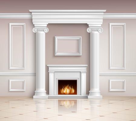 classic interior: Classic Interior With Fireplace. Classic Interior Illustration. Interior Realistic Design. Classic Room Vector Illustration. Classic Interior Background. Classic Style Illustration.