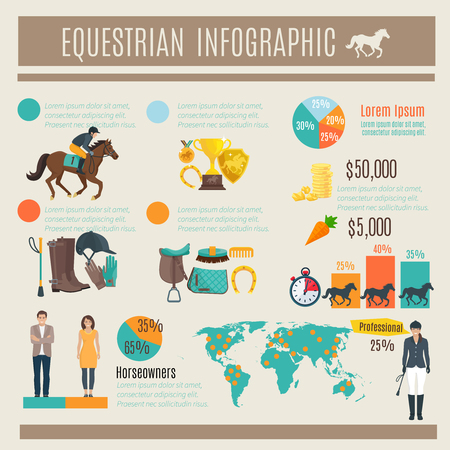 stirrup: Color decorative infographic about equestrian horce race and jockey vector illustration Illustration