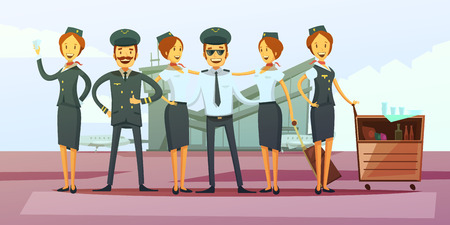 Plane crew cartoon background with pilot and flight attendants vector illustration