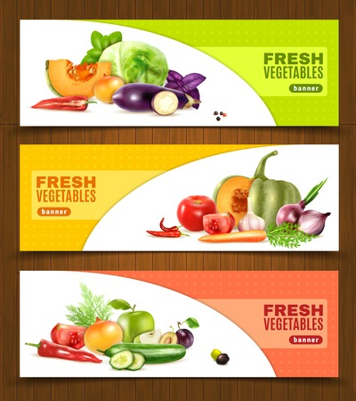 Three horizontal banners with colorful compositions of whole and chopped fresh vegetables and fruits in realistic style vector llustration
