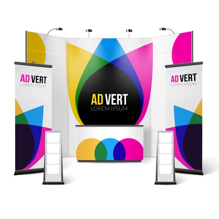 handouts: Exhibition Stand Color Design. Exhibition Stand Template. Exhibition Stand Realistic Vector Illustration. Exhibition And Show Stand Elements.