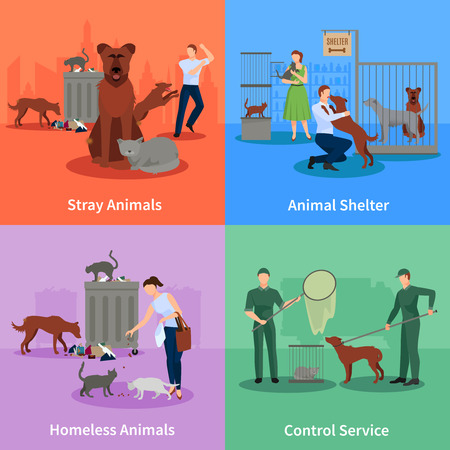 stray dog: Stray animals icons set conduct outside their habits shelter and control service vector illustration