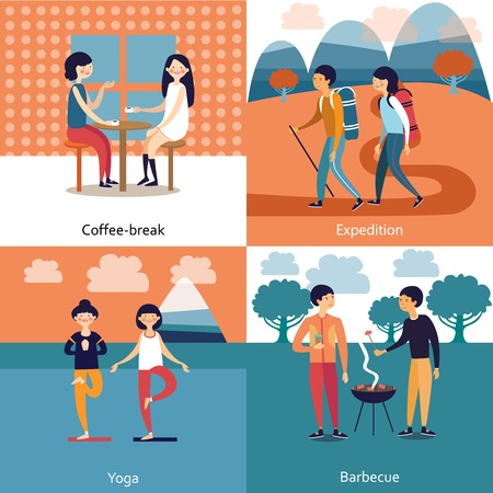 pastime: Pastime of friends concept with coffee break barbecue expedition yoga isolated vector illustration