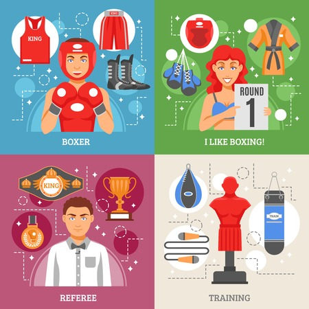bathing suit: Boxing 2x2 design concept set of manikin for training referee with prizes boxer in helmet and girl in bathing suit with tournament sign vector illustration