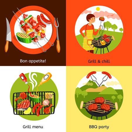 outdoor party: Summer bbq grill outdoor party appetizing menu 4 flat icons square composition banner abstract isolated vector illustration