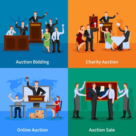 Caridad subasta de licitación en línea y la venta al mejor postor 4 iconos planos composición abstracta ilustración vectorial
