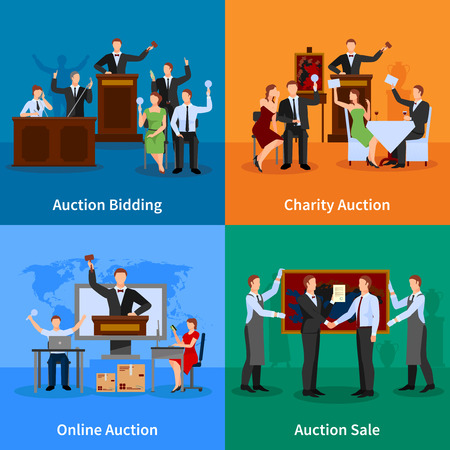 bidder: Charity auction online bidding and sale to highest bidder 4 flat icons composition abstract isolated vector illustration Illustration
