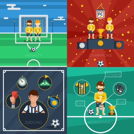 judge players: Soccer flat icons composition with game accessories players and judge equipment vector illustration Illustration