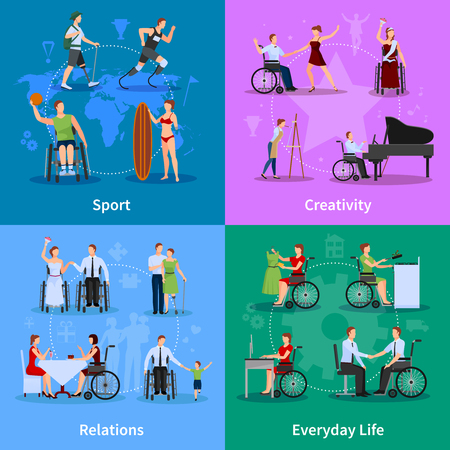 active life: Disabled people active life 4 flat icons square banner with relations and creativity abstract isolated vector illustration