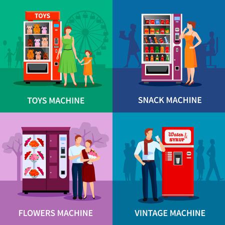 Stijlvol kleurrijke automaten met speelgoed bloemen snacks water en geïsoleerd siroop vector illustratie