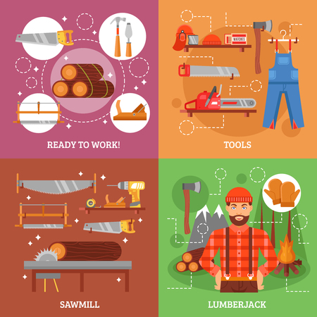 wood working: Lumberjack and tools for working wood with sawmill forest bonfire saw axe overall casque isolated vector illustration Illustration