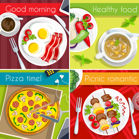 picnic food: Food icon set four type of meal breakfast healthy pizza time picnic vector illustration Illustration
