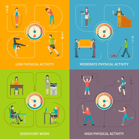 physical activity: Flat concept 2x2 showing type of physical activity by voltage level with detector vector illustration