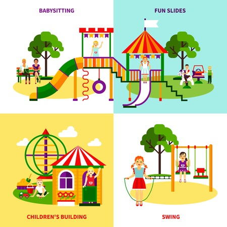 Color flat composition 2x2 design concept of outside playground with swing babysitting childrens bilding fun slides vector illustration Illustration
