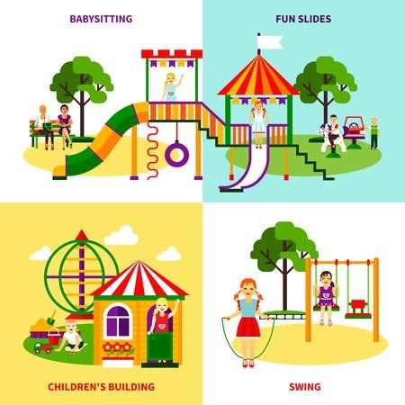 bilding: Color flat composition 2x2 design concept of outside playground with swing babysitting childrens bilding fun slides vector illustration Illustration