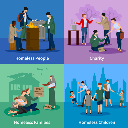 poor: Homeless icons set with people warm themselves around the fire, begging, receiving donations and homeless children and families vector illustration