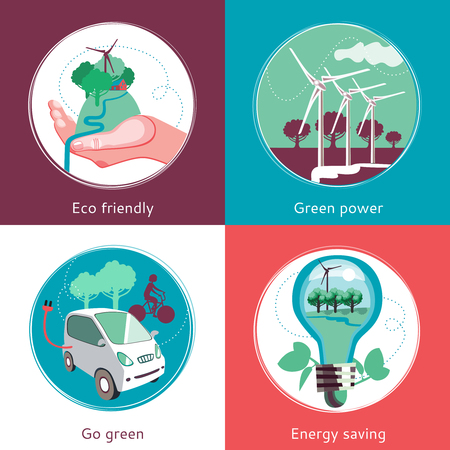producing: Ecological green energy producing and recycling concept 4 flat icons square composition banner abstract isolated vector illustration Illustration