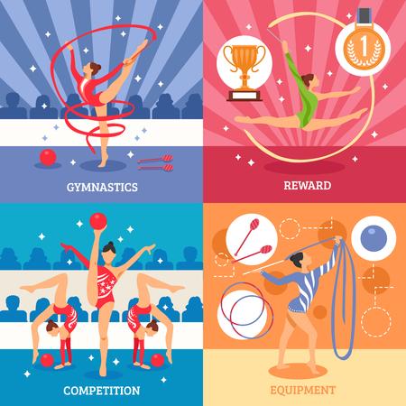 athletes: Art gymnastics 2x2 design concept set of competition equipment reward compositions with female athletes flat icons vector illustration Illustration