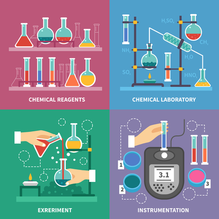 instrumentation: Chemical laboratory concept with instrumentation glassware burners and fluids measurement experiments reactions with acids isolated vector illustration