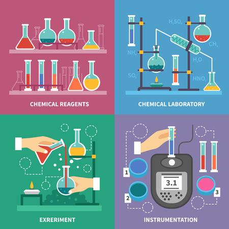 Chemische Laborkonzept mit Instrumentierung Glas Brenner und Flüssigkeiten Mess Experimente Reaktionen mit Säuren isolierten Vektor-Illustration