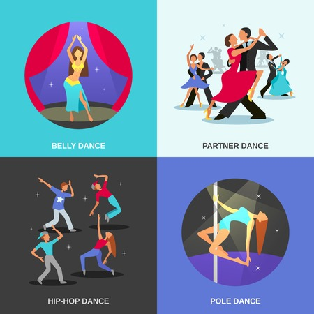 pole dance: Color flat concept 2x2 depicting different dance style belly hip-hop partner pole vector illustration