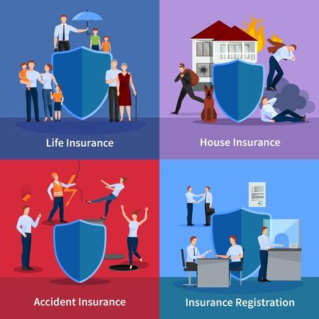 elementos de protección personal: seguros personales y de propiedad con la protección de la vida y contra el registro de accidentes de eventos aislados ilustración vectorial